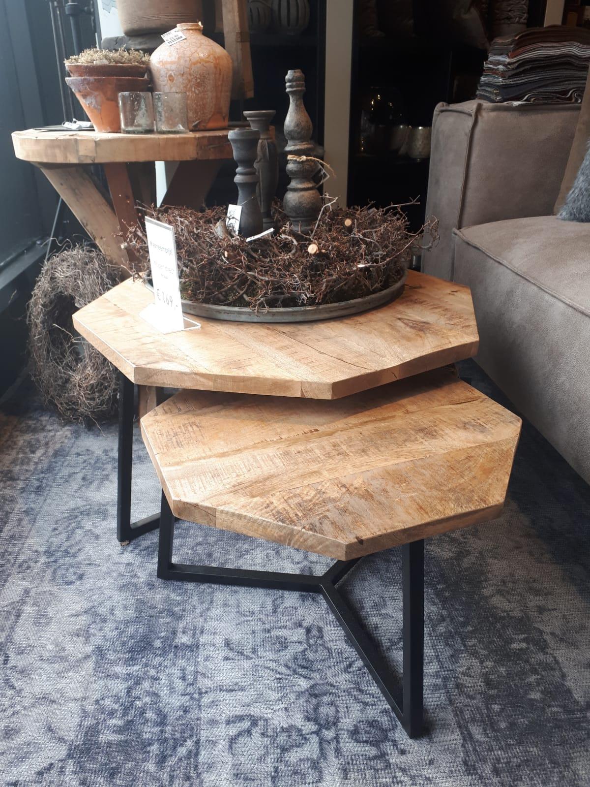 salontafel set van 2 achthoekig