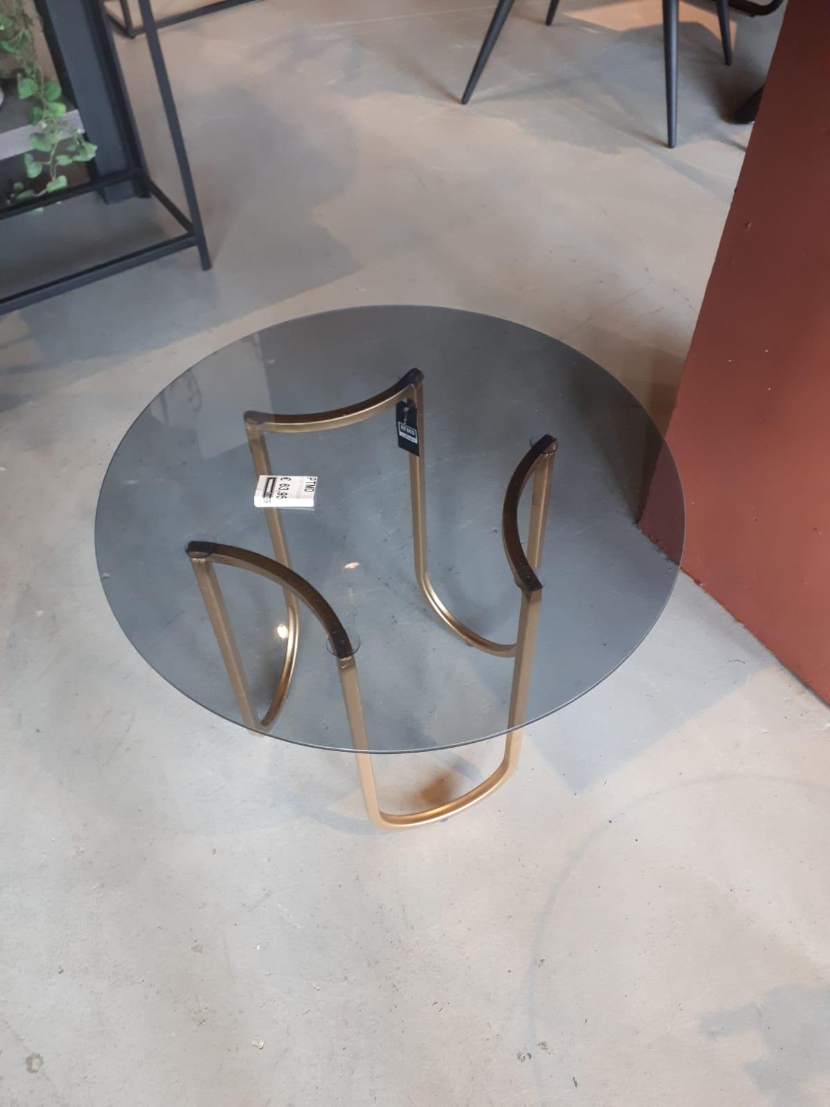 salontafel goud frame en ronde glas plaat