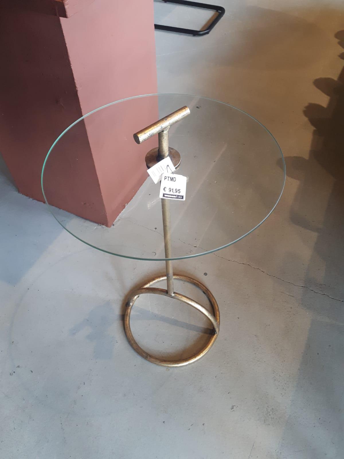 bijzettafel met goed frame een ronde glas plaat